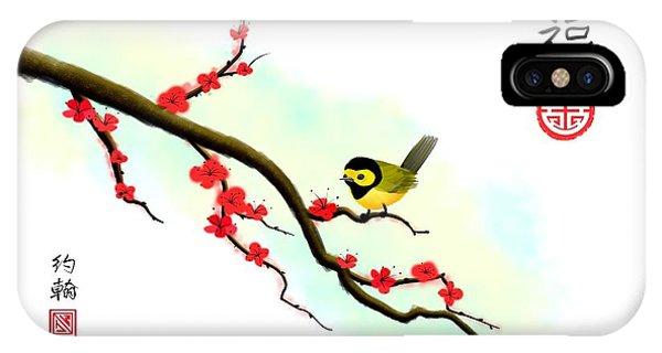 Hooded Warbler Prosperity Asian Art IPhone Case