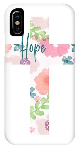 Cross iPhone X Case - Hope Floral Cross- Art By Linda Woods by Linda Woods