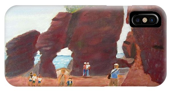 IPhone Case featuring the painting Hopewell Rocks2 by Linda Feinberg