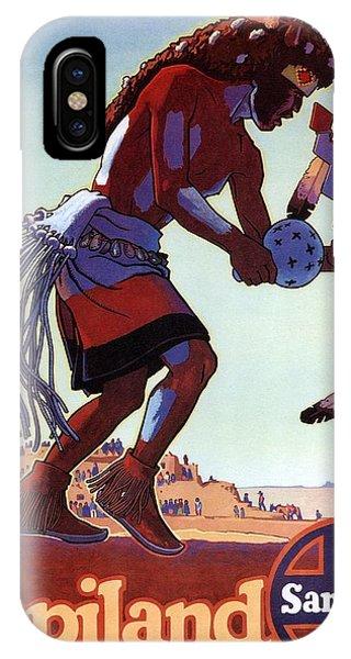 Advertising iPhone Case - Hopiland - Santa Fe - Buffalo Dancer - Retro Travel Poster - Vintage Poster by Studio Grafiikka