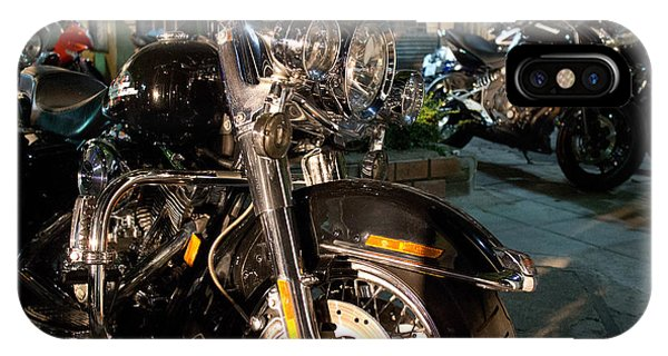 Horizontal Front View Of Fat Cruiser Motorcycle With Chrome Fork IPhone Case