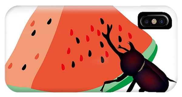 iPhone Case - Horn Beetle Is Eating A Piece Of Red Watermelon by Moto-hal