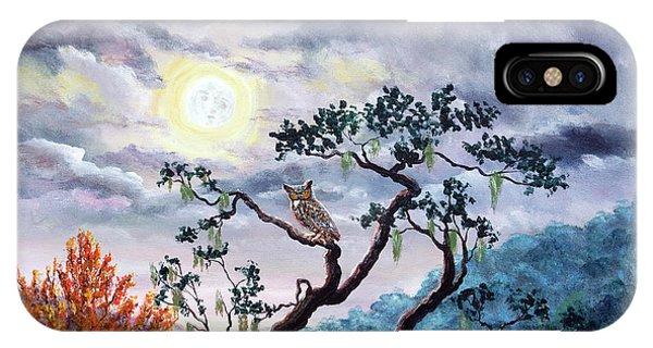 Horned Owl On Moonlit Oak Tree IPhone Case