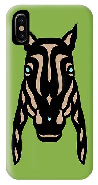 Horse Face Rick - Horse Pop Art - Greenery, Hazelnut, Island Paradise Blue IPhone Case