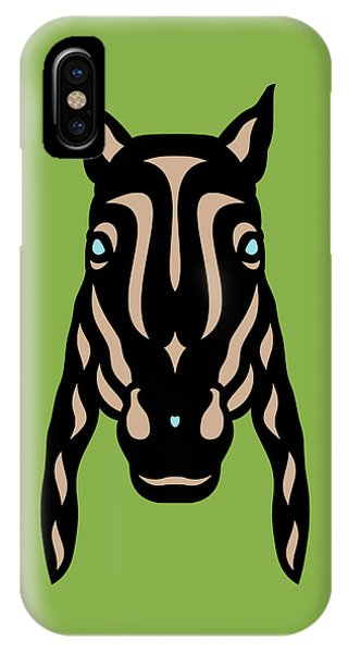 Horse Face Rick - Horse Pop Art - Greenery, Hazelnut, Island Paradise Blue IPhone Case