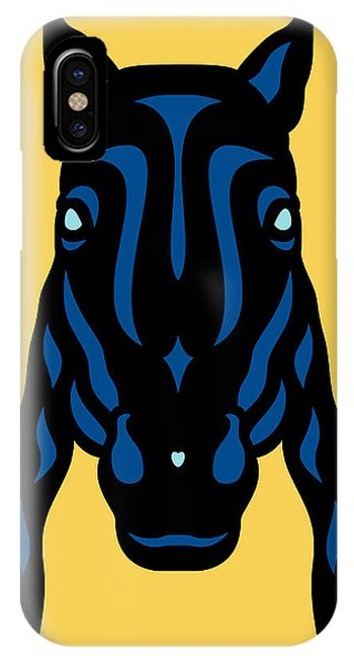 Horse Face Rick - Horse Pop Art - Primrose Yellow, Lapis Blue, Island Paradise Blue IPhone Case