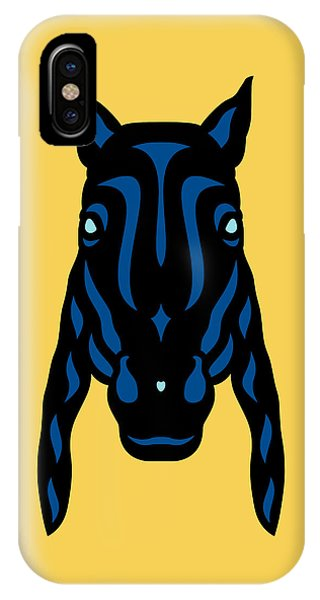 Horse Face Rick - Horse Pop Art - Primrose Yellow, Lapis Blue, Island Paradise Blue IPhone Case