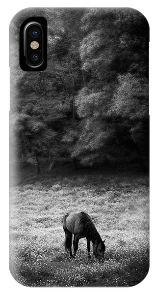 Horse In Flowers In Black And White IPhone Case