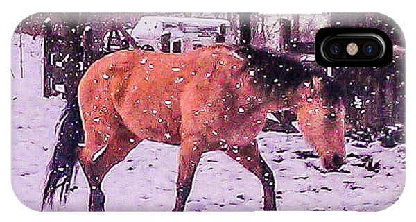 Horse In Snow IPhone Case