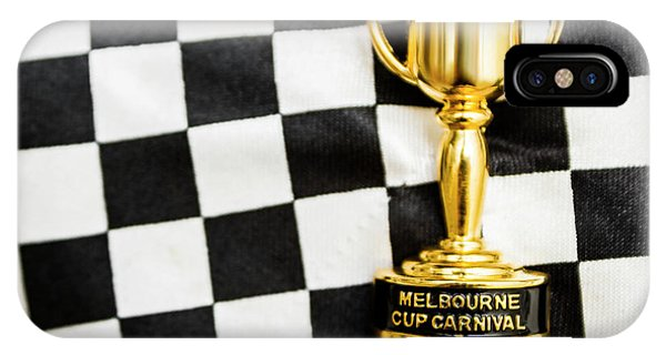 White Horse iPhone Case - Horse Races Trophy. Melbourne Cup Win by Jorgo Photography - Wall Art Gallery