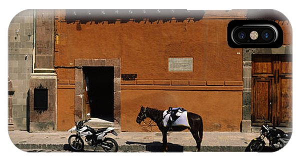 Guanajuato iPhone Case - Horse Standing Between Two Motorcycles by Panoramic Images