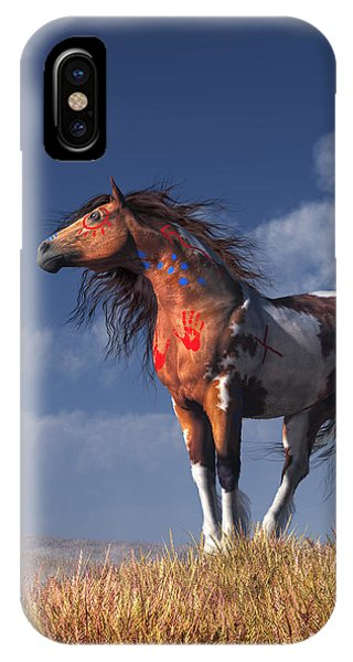 IPhone Case featuring the digital art Horse With War Paint by Daniel Eskridge