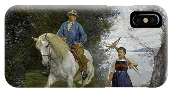 Horseman iPhone Case - Horseman At A Lake by Rudolf Koller