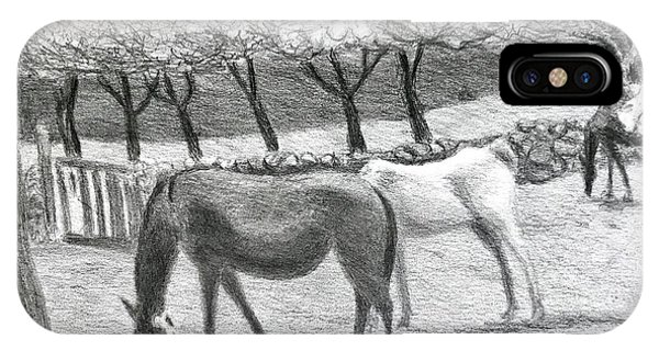 Horses And Trees In Bloom IPhone Case