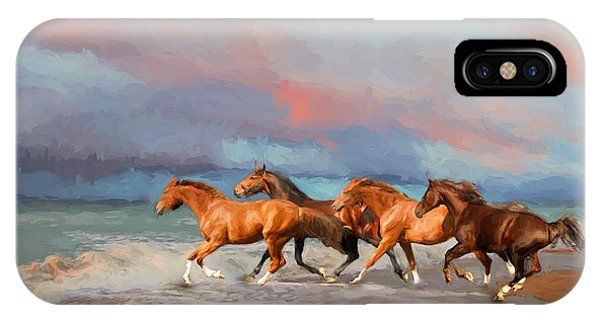Horses At The Beach IPhone Case