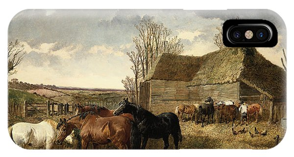 Barnyard iPhone Case - Horses Eating From A Manger, With Pigs And Chickens In A Farmyard by John Frederick Herring Jr