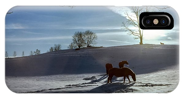 Horses In The Snow IPhone Case