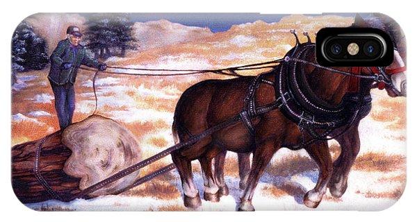 Horses Pulling Log IPhone Case