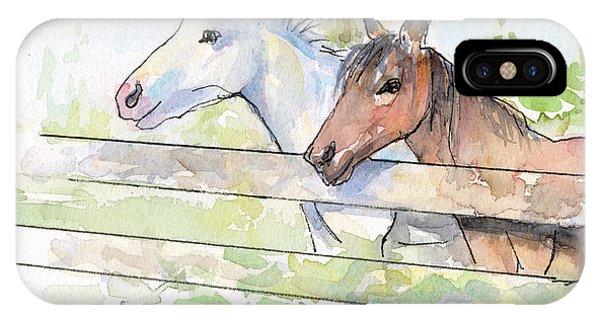 Horse iPhone Case - Horses Watercolor Sketch by Olga Shvartsur