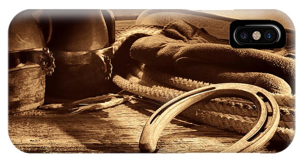 Horseshoe And Cowboy Gear IPhone Case