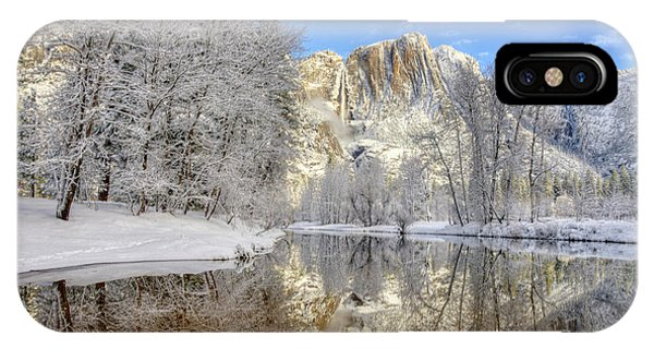 Horsetail Fall Reflections Winter Yosemite National Park IPhone Case