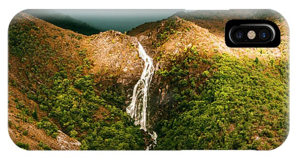 Water iPhone Case - Horsetail Falls In Queenstown Tasmania by Jorgo Photography - Wall Art Gallery