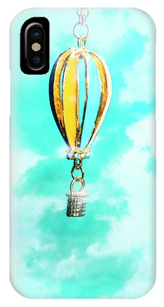 Pendant iPhone Case - Hot Air Balloon Pendant Over Cloudy Background by Jorgo Photography - Wall Art Gallery