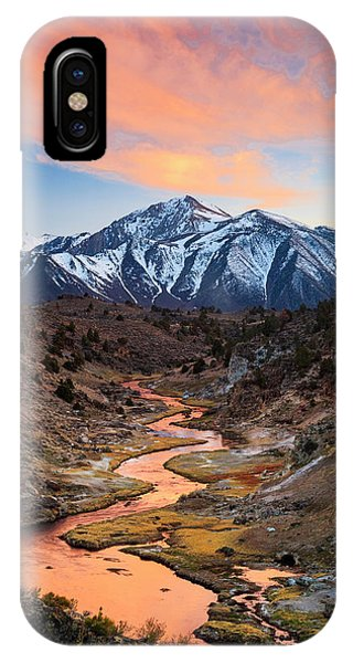 Mammoth Hot Springs iPhone Case - Hot Creek Fiery Sunset by Johnny Adolphson