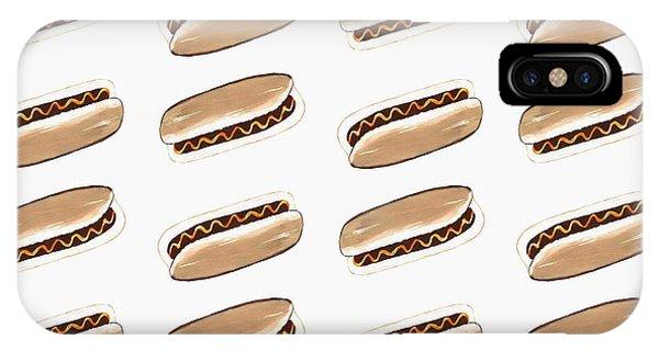 Mustard iPhone Case - Hot Dog Pattern by Kathleen Sartoris