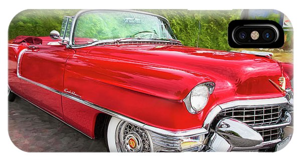 Hot Red 1955 Cadillac Convertible IPhone Case