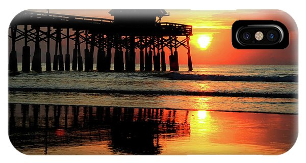 Tiki Bar iPhone Case - Hot Sunrise Over Cocoa Beach Pier  by Carol Montoya