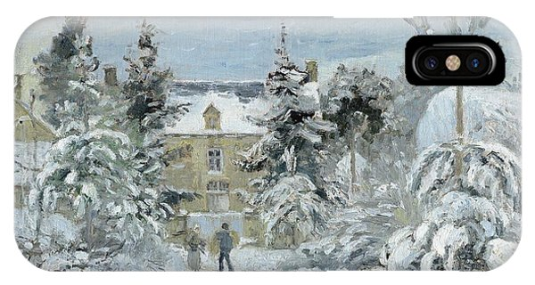 Wintry iPhone Case - House At Montfoucault by Camille Pissarro