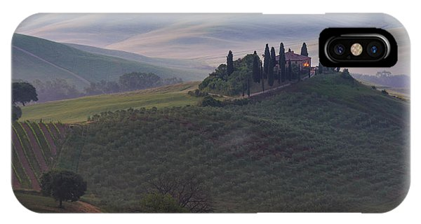 IPhone Case featuring the photograph House In Tuscany In The Morning Fog by IPics Photography