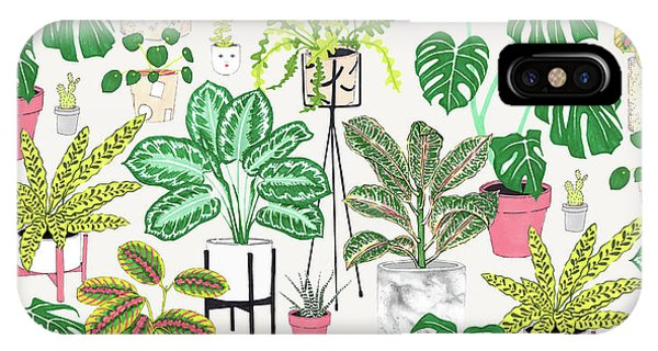 Repeat iPhone Case - House Plants by Jacqueline Colley