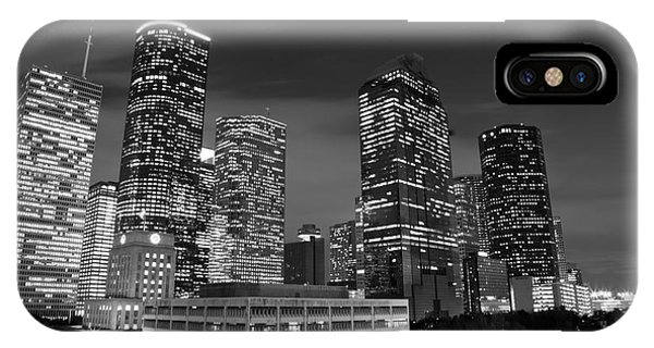 Houston By Night In Black And White IPhone Case