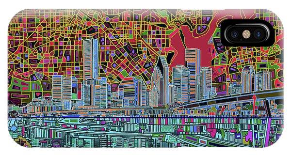 Houston Skyline Abstract 3 IPhone Case