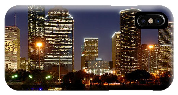 Texas iPhone Case - Houston Skyline At Night by Jon Holiday