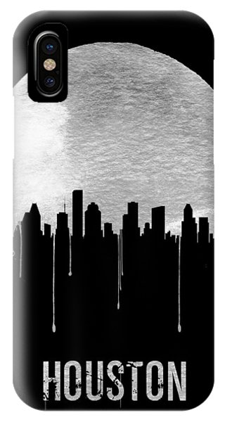 University iPhone Case - Houston Skyline Black by Naxart Studio