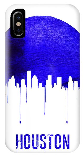 University iPhone Case - Houston Skyline Blue by Naxart Studio