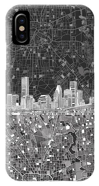 Houston Skyline Map Black And White IPhone Case