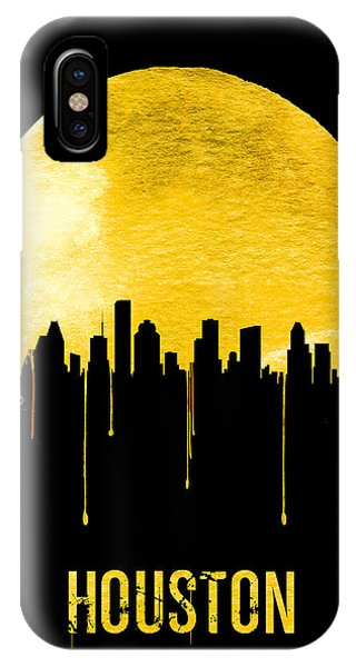 University iPhone Case - Houston Skyline Yellow by Naxart Studio