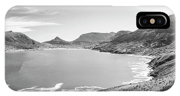 IPhone Case featuring the photograph Hout Bay Panorama Black And White by Tim Hester