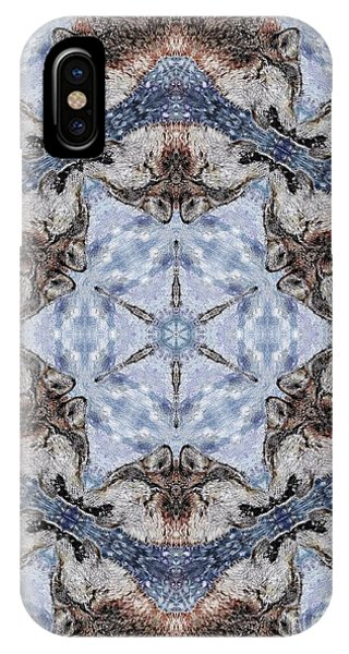 iPhone Case - Howling Gray Wolf Kaleidoscope by J McCombie