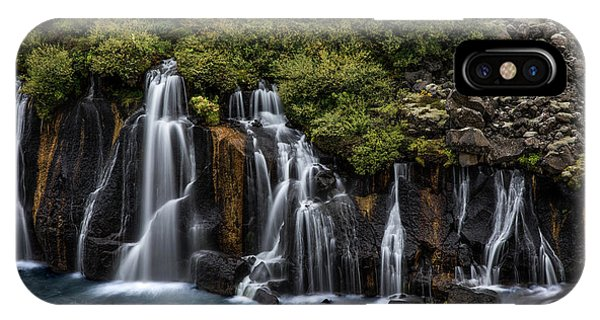 IPhone Case featuring the photograph Hraunfossar In The Gloom by Rikk Flohr