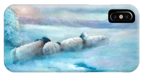 Huddling Sheep Phone Case by Sally Seago