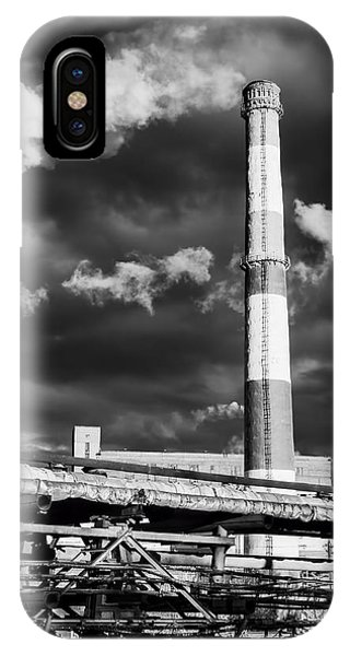 Huge Industrial Chimney And Smoke In Black And White IPhone Case