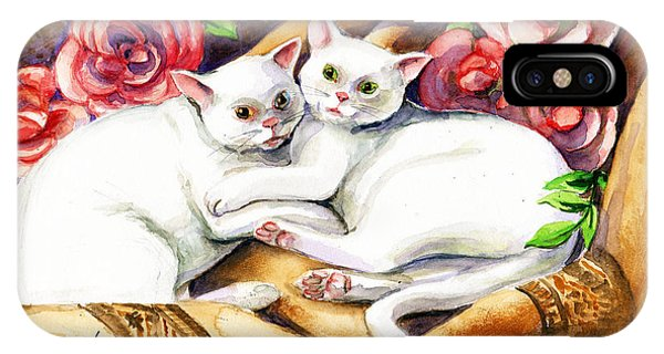 IPhone Case featuring the painting Hugging Cats by Linda L Martin