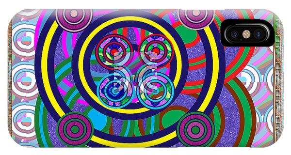Hula Hoop Circles Tubes Girls Games Abstract Colorful Wallart Interior Decorations Artwork By Navinj IPhone Case