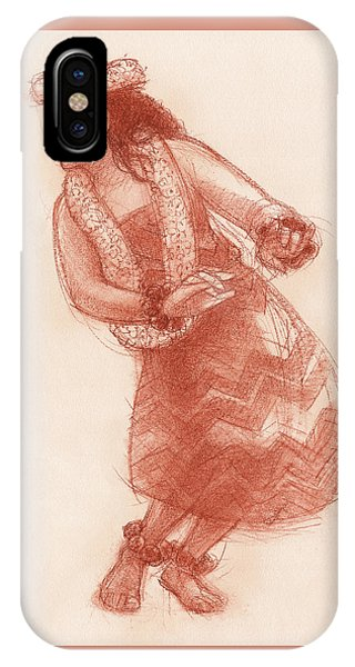 IPhone Case featuring the drawing Hula Waikoloa by Judith Kunzle