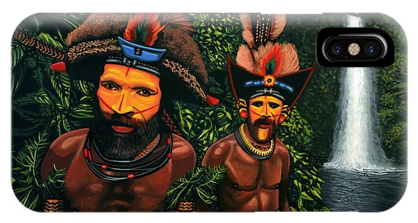Beauty In Nature iPhone Case - Huli Men In The Jungle Of Papua New Guinea by Paul Meijering